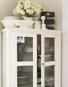 Beautiful Cottage Chic white cabinet to store kitchen  Dining Dishes  Stemware...