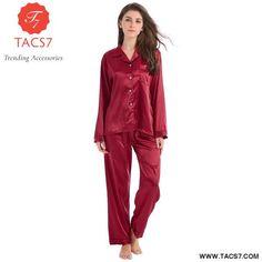 4588361230 Silk Pajamas Set Satin Ladies Sleepwear Womens Soft Nightgown