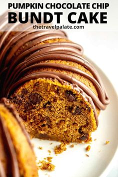 The Best Choxcoalte Chip Pumpkin Bundt Cake  Everyone loves it because it's super moist, filled with chocolate chips and topped with a chocolate glaze. I love it because it's so easy to make because it uses cake mix! You just need one bowl to make this simple fall dessert that's sure to be loved by the pumpkin lovers in your family too! #pumpkin #fall #desserts #pumpkinspice #simple #pumpkinrecipes