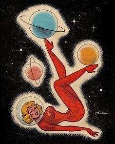The vault of the atomic age - Vintage Art Pop Art Vintage, Vintage Space, Retro Art, 60s Art, Art Inspo, Kunst Inspo, Cartoon Kunst, Cartoon Art, Art And Illustration