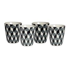 Refresh your table setting with this set of four 3D cups from Pols Potten. Made from glazed porcelain they feature a striking three dimensional pattern in black & white hues. Beautifully decorated by