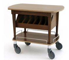 Wooden gueridon trolley, 2 levels, w/wooden drawers, tanganika