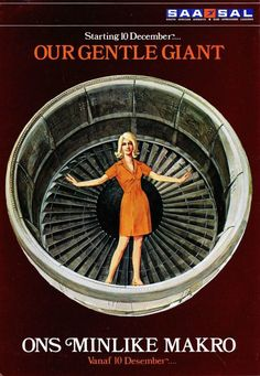SAA South African Gentle Giant Boeing 747B Poster/Brochure 1971 Different Airlines, Airline Uniforms, Aircraft Engine, Gentle Giant, Aviation Art, Africa Travel, Vintage Posters, South Africa, December