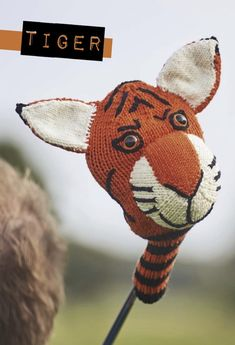 Knitting Pattern: Tiger golf club cover by Susie Johns Tiger golf club cover, free pattern by Susie Johns via Underground Crafter Knitting Patterns Free, Knit Patterns, Free Knitting, Free Crochet, Knit Crochet, Easter Crochet, Knitting Ideas, Crochet Toys, Stitch Ears