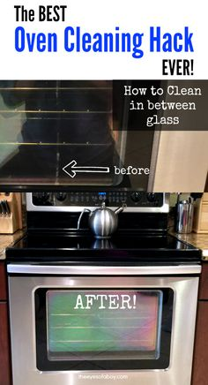 The Best Oven Cleaning Hack EVER - How To Clean in Between Glass Door Window - Helpful home cleaning tips to DIY with NO tools or repair guy required! (Best Kitchen Cleaning Tips) Oven Cleaning Hacks, Deep Cleaning Tips, Toilet Cleaning, House Cleaning Tips, Cleaning Solutions, Spring Cleaning, Cleaning Products, Kitchen Cleaning, Cleaning Supplies
