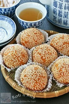 Make these popular dim sum favorite, Jian Dui or Sesame Seed Balls at home. These are gluten free with a little sweet potato mixed into the dough. | Food to gladden the heart at RotiNRice.com