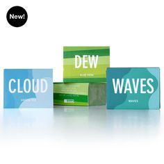 Infused with the atmospheric scents of natural elements that hydrate us, the Aqueous set of glycerin soaps includes one bar each of Dew, Cloud, and Waves. These specially formulated glycerin bars cleanse gently and produce a luxuriously silky lather.