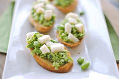Edamame  Edamame & Pear Crostini Yield: 30 servings Recipe adapted from CarbLover's Diet Cookbook