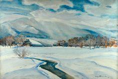 Stefan FILIPKIEWICZ (1879 - 1944)  Zima akwarela na szkicu ołówkiem, papier, 66 x 100 cm;