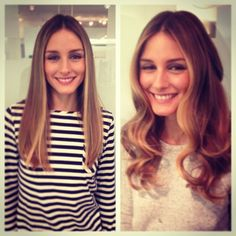 Our beautiful client Olivia Palermo wearing her hair straight and curly with her new baby blonde painted by and Amazing celebrity stylist at salon ! Twist Hairstyles, Celebrity Hairstyles, Pretty Hairstyles, Straight Hairstyles, Brown With Blonde Highlights, Hair Highlights, Hair Inspo, Hair Inspiration, Colour Inspiration