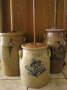 The Scarlett House: November 2008 Stoneware Crocks, Antique Stoneware, Earthenware, Antique Crocks, Old Crocks, Prim Decor, Primitive Decor, Country Decor, Wooden Snowmen