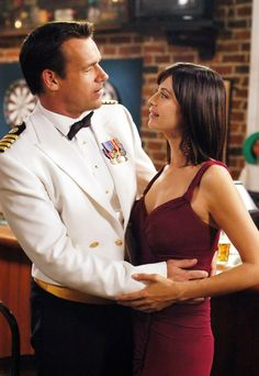 JAG David James Elliott (Harm) & Catherine Bell (Mac/Sarah) Ep22 S10Final. Harm was always so handsome in uniform and Sarah looked good in everything. A beautiful couple.