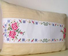 Vintage French Linen Hand Embroidered cross by Retrocollects