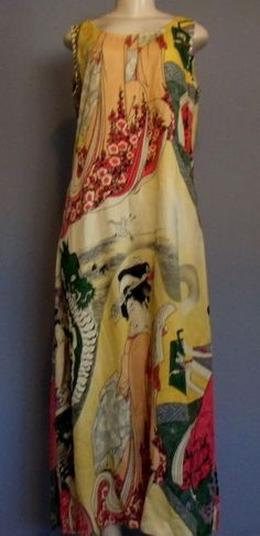 CITRON S Dress Asian Geisha Dragon Sleeveless Textured SILK Long MAXI New #CitronofSantaMonica #Maxi #Casual