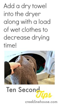 Dry towel to the dryer for faster drying, Easy Cleaning Trick!