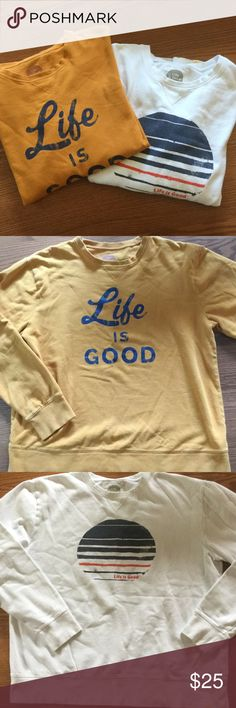 2 Men's Life is Good sweatshirts Two Life is Good sweatshirts!  Butterscotch with blue letters, and white with red and blue design.  The first photo shows the colors best.  Very clean and soooo soft! Life is Good Shirts Sweatshirts & Hoodies