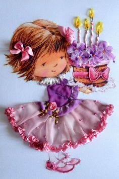 Little girl ribbon embroidery