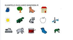 Kuuluuko sanoissa r? Kids Learning Activities, Alphabet, Kindergarten, Language, Education, Fictional Characters, Infant Learning Activities, Alpha Bet, Kindergartens