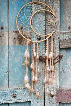 Rattan Crescent Moon Dreamcatcher - Earthbound Trading Co. - Earthbound Trading Co. Homemade Dream Catchers, Moon Dreamcatcher, Dreamcatchers Diy, Dream Catcher Tutorial, Craft Day, Moon Design, Macrame Patterns, Wreath Crafts, Room Accessories