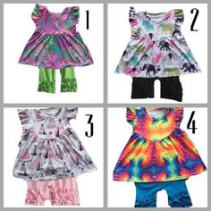 Absolutely loving these cute outfit sets! Tye dye, elephants, and tepees
