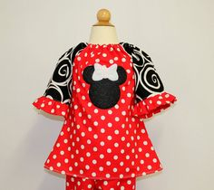 Polka Dot Minnie Mouse Outfit Custom sizes by AllDeckedOutBoutique, $30.00