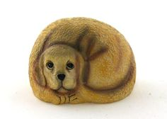 """Pet Rock Golden Retriever Painted poly resin the back is neutral rock color approx. 4"""" X 2.5"""" Click to enlarge"""