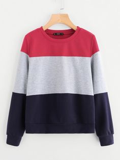 Shop Cut And Sew Sweatshirt online. SheIn offers Cut And Sew Sweatshirt & more to fit your fashionable needs. Cut Sweatshirts, Sweatshirts Online, Comfy Hoodies, Blue Long Sleeve Tops, Pullover, Blue Tops, T Shirts, Fashion News, Sewing