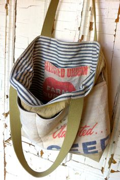 TIMOTHY reconstructed vintage grain sack tote bag by yahbag
