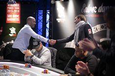 Othmane Chaib (à gauche sur la photo) termine à la 7e place de cette 5e édition du Winamax Poker Tour. La finale #WiPT 2015/2016 au Cercle Clichy Montmartre. Crédit photo: Caroline Tribot #Winamax #Poker #CCM