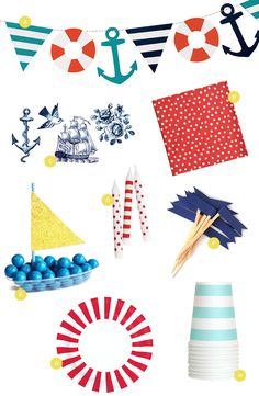 Nautical Party Supplies | Oh Happy Day!  #nautical #party #birthday #goodies #decoration