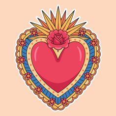 Illustration of sacred heart concept . Medicine Illustration, Heart Illustration, Tattoo Illustration, Digital Illustration, Art Chicano, Chicano Tattoos, Posca Art, Art Watercolor, Celtic Symbols