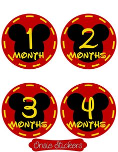 Mickey Mouse Disney Monthly Onsie Stickers Baby by JustSewSweetly, $7.50