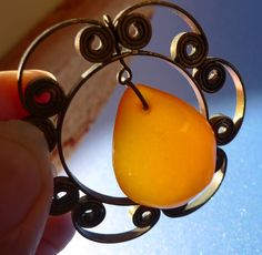 83. Latvia Natural? Orange Baltic Amber gem vintage cabochon pendant charm 17g