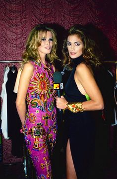 MTV's House of Style   Host Cindy Crawford interviewing Claudia Schiffer, 1991.