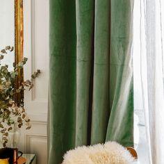 Rideau Palazzo vert amande Decor, Green Curtains, Interior, Deco, Rideau, Velvet Curtains, Home Decor, Curtains, Curtain Designs