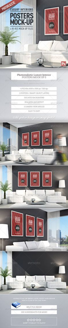 Luxury Interior Posters Mock-Up vol.5  #GraphicRiver        Luxury Interior Posters Mock-Up vol.5 4 fully layered PSD files.