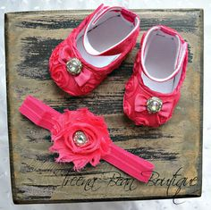 Hot Pink Baby Girl Shoes-Fancy Glamour Baby Crib Shoes-Baby Headband and Shoes-Baby Girl Headband-Newborn Baby Girl on Etsy, $19.95