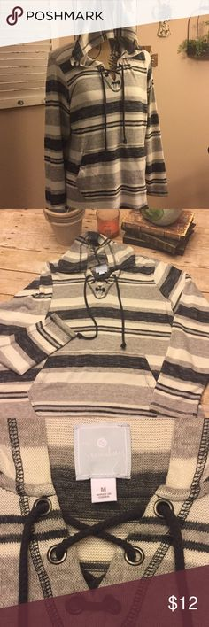 Pull over hoodie Like new. Only worn once. Light weight hoodie. Black, white and gray stripes. Size med. Sunday Tops Sweatshirts & Hoodies