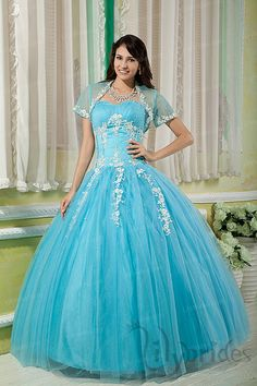 Ball Gown Sweetheart Satin Organza Crystal Quinceanera Dress