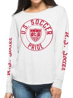 USA United States Soccer Team 47 Brand Women Gray Oversized Cara T-Shirt