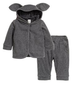 BABY EXCLUSIVE. Set in cotton jersey. Jacket with a jersey-lined hood, snap fasteners at front, side pockets, and ribbed cuffs. Pants with elasticized waistband, side pockets, and ribbed hems.