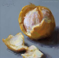 """""""Only an Orange"""" by Adam Clague • Oil on gesso panel"""