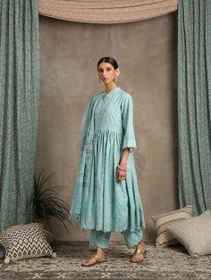 Chiffon Maxi Dress, Mesh Dress, Salwar Kurta, Kurta Pants, How To Make Buttons, Cotton Pants, Occasion Wear, Festival Wear, Blue Fabric