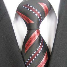 Dark grey, coral, gold groom | YIBEI Men's ties Border Black With Coral Red / White Stripes Necktie ...