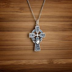 Celtic Cross with Claddagh  STERLING SILVER  by LittleDevilDesigns