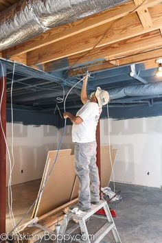 How to Frame around the duct-work in basements (Ceiling Ideas Basement remodel Basement ceiling ideas Finished basement ideas How to finish a basement Basement bar ideas Unfinished basement ideas Unfinished Basement Ceiling, Basement Ceiling Options, Old Basement, Basement Makeover, Basement Plans, Basement House, Basement Flooring, Basement Renovations, Basement Bathroom