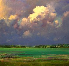 billowing clouds over key largo ~ oil on paper ~ c.2010 ~ by robert andriulli