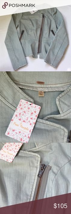Free people denim jacket. Size 4. Free people size 4 jacket. Clean grey denim. Perfect fit. Bulky and all working zippers. Never used with tags. Free People Jackets & Coats Jean Jackets