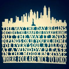 Selfmade paper New York Morning lyrics.made by Guy Garvey! Guy Garvey, Paper News, Papercutting, Cheer You Up, Dance The Night Away, Lyric Quotes, Morning Quotes, Inspiring Quotes, Song Lyrics