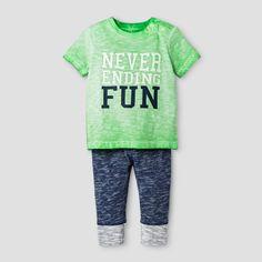 Baby Boys' 2-Piece Tee and Legging Set Cat & Jack Island Green/Nighttime Blue 6-9 Months